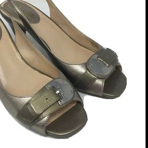 Cole Haan Womens Gold Leather Slingback Open Toe
